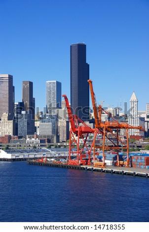 Dockyard cranes, Seattle waterfrontPuget Sound, Pacific Northwest - stock photo