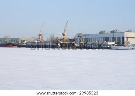 dockyard with two cranes