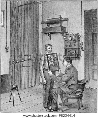 Doctor analyzing an x-ray / vintage illustration from Meyers Konversations-Lexikon 1897 - stock photo