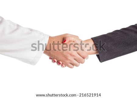 Doctor and business woman shaking hands. Isolated on white background - stock photo