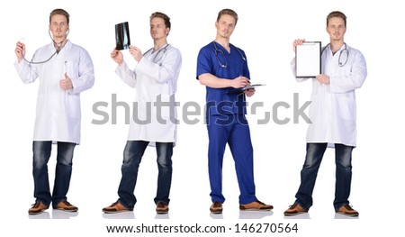 Doctor and  intern with x-pay snapshot, clipboard and phonendoscope. Isolated on white background. - stock photo
