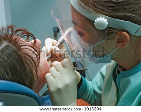 doctor and  patient in stomatological office