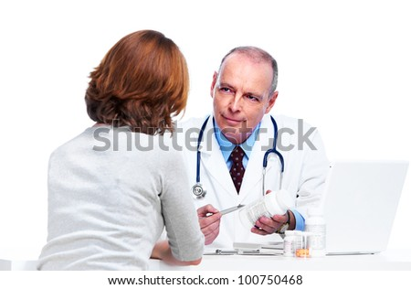 Doctor and patient woman. Isolated on white background. - stock photo