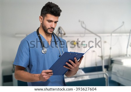 Doctor at work in an hospital - stock photo