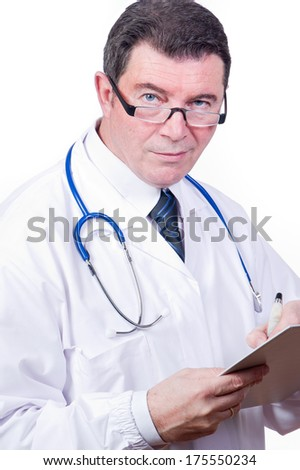 doctor at work writing - stock photo