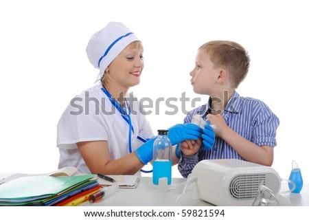 Doctor bandaged the boy finger. Isolated on white background - stock photo
