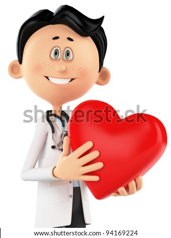 doctor cartoon is holding a heart portrait - stock photo