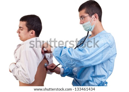 Doctor examine a young man patient with stethoscope