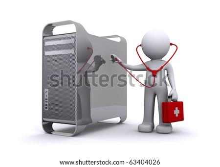 doctor examining a Computer - stock photo
