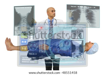Doctor examining a patient isolated in white - stock photo