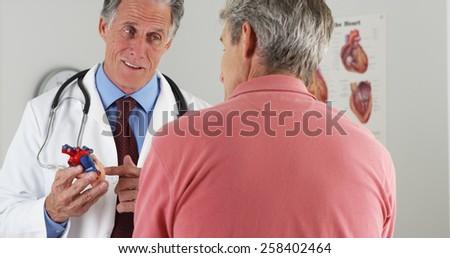 Doctor explaining heart to elderly patient - stock photo