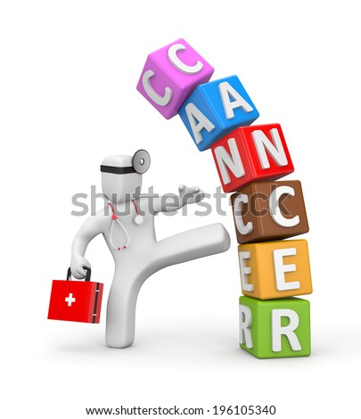 Doctor fights with cancer - stock photo
