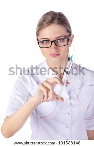 Doctor, girl, syringe injection - stock photo