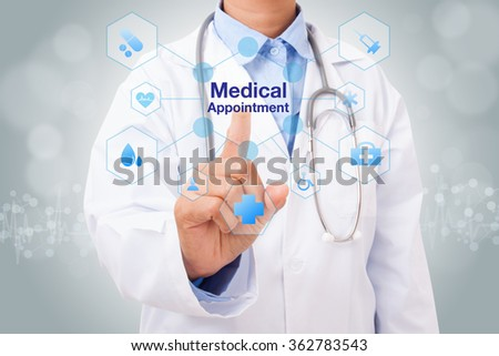 Doctor hand touching medical appointment sign on virtual screen. medical concept