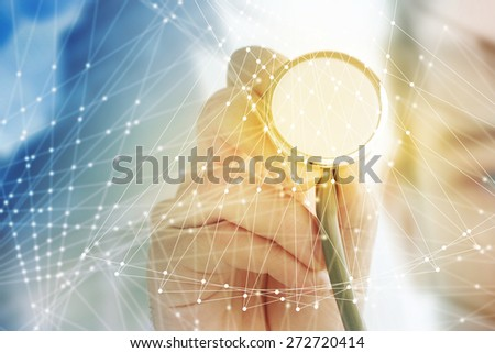 Doctor hand with stethoscope, medicine concept, screen background - stock photo