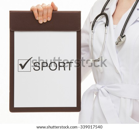 Doctor holding a clipboard and calling to healthy lifestyle , white background