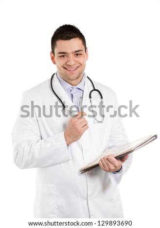 Doctor holding a pen and reports and smiling at you.