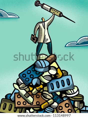 Doctor holding a syringe while standing on a pile of medication