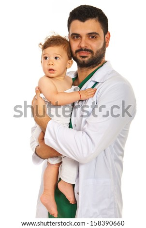 Doctor holding baby boy isolated on white background