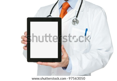 Doctor holding blank digital tablet with clipping path for the screen - stock photo