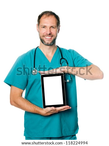 Doctor holding blank digital tablet with copy space vertically - stock photo