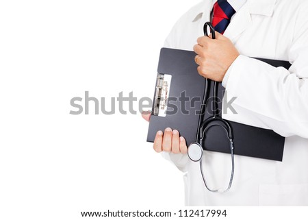 Doctor holding clipboard and stethoscope on white background - stock photo