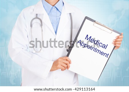 Doctor holding clipboard with medical appointment text on a sheet of paper on white background