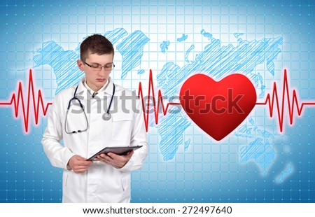 doctor holding digital tablet with pulse and heart on background - stock photo