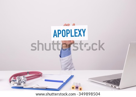 Doctor Holding Placard written APOPLEXY