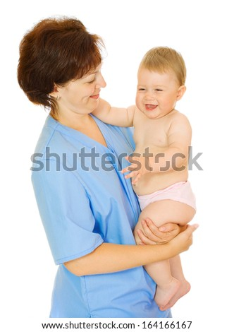 Doctor holding small smiling baby isolated