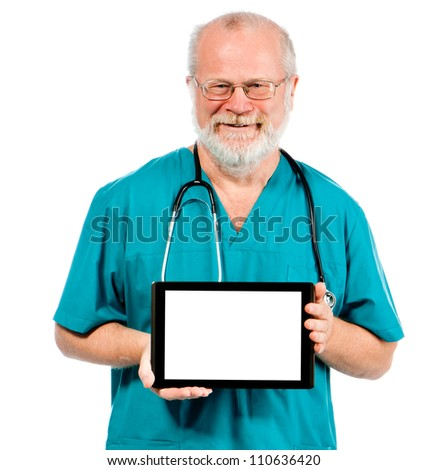 Doctor holding tablet horizontally with white place for your text - stock photo