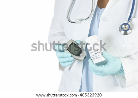 Doctor holds diabetes medication and glucometer on white background.