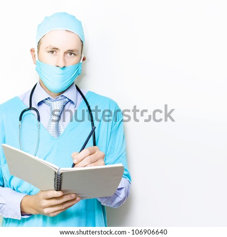 Doctor in gown and mask giving a gesture of perfection to confirm that his patient is in excellent heath isolated on white - stock photo