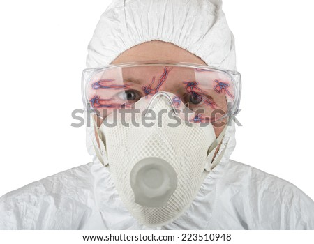 Doctor in protective suite looking at ebola isolated on a white background - stock photo