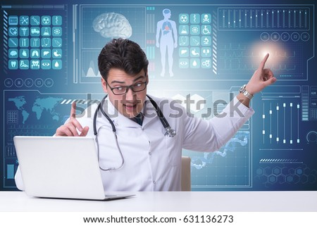 Doctor in telemedicine concept pressing button