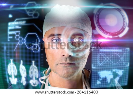 Doctor in uniform with digital  screens and heads-up display - stock photo