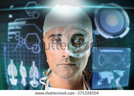 Doctor in uniform with digital  screens andheads-up display - stock photo