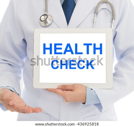 Doctor invite you to the annual health check at the Hospital. Concepts of medical, health-care.  - stock photo