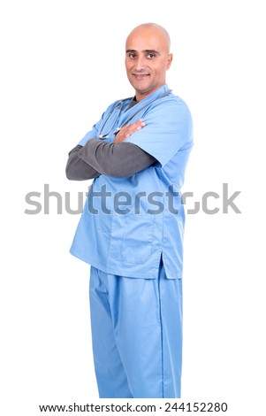 Doctor isolated against a white background - stock photo