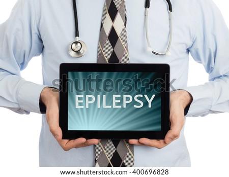 Doctor, isolated on white backgroun,  holding digital tablet - Epilepsy - stock photo