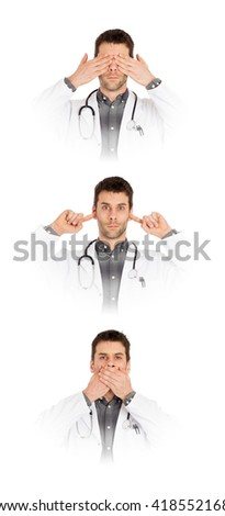 Doctor isolated on white - Sees, hears and speaks no evil - Concept for not rocking the boat in medical circles - stock photo