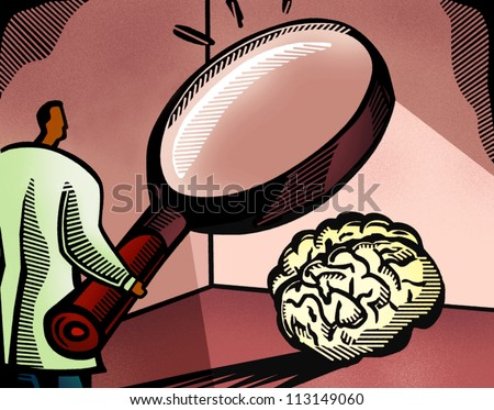 Doctor looking at a brain through a giant magnifying glass - stock photo