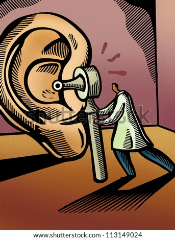 Doctor looking through an otoscope at a giant ear - stock photo