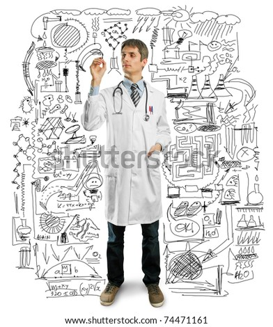 Doctor male writing something with marker on glass - stock photo