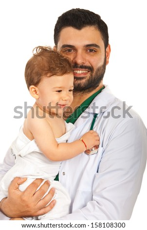 Doctor man holding baby boy isolated on white background