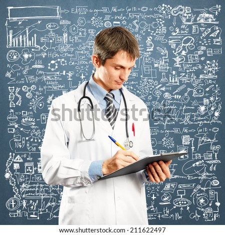 Doctor man with stethoscope and clipboard in his hands