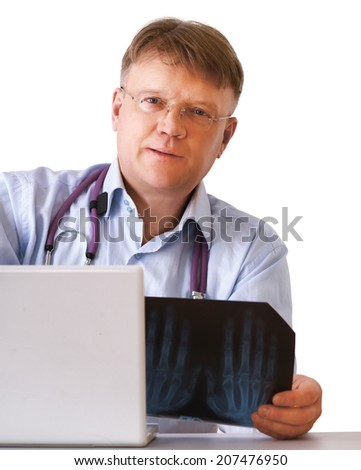 Doctor man with stethoscope , isolated on white - stock photo