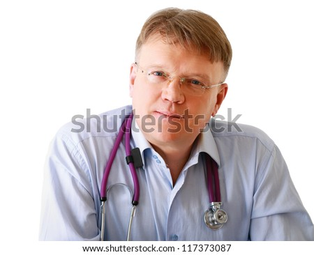 Doctor man with stethoscope , isolated on white background