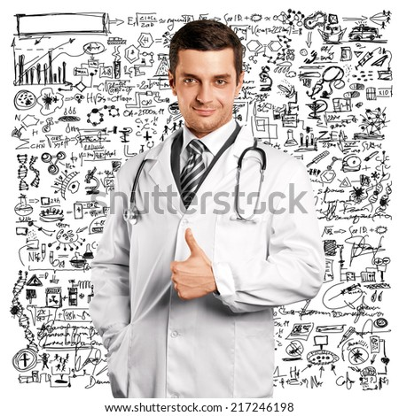Doctor man with stethoscope shows well done