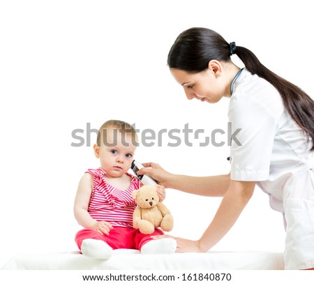 doctor measuring  temperature baby girl - stock photo